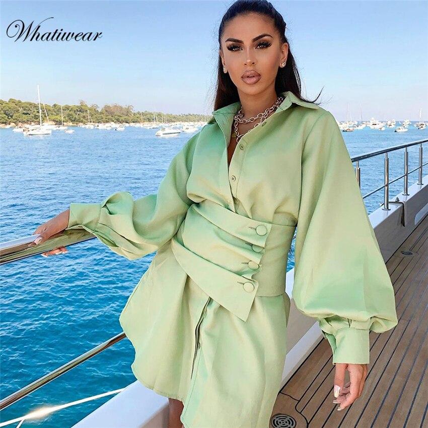Whatiwear 2019 vestido de verano Streetwear mujer sólido manga larga botón cinturón vestido de fiesta Vestidos de fiesta
