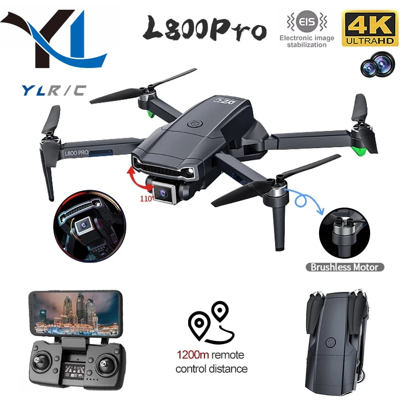 2021 NEW L800 Pro GPS Drone 4k Professional HD Dual Camera Brushless Aerial Photography Wifi Foldable Quadcopter 1.2KM