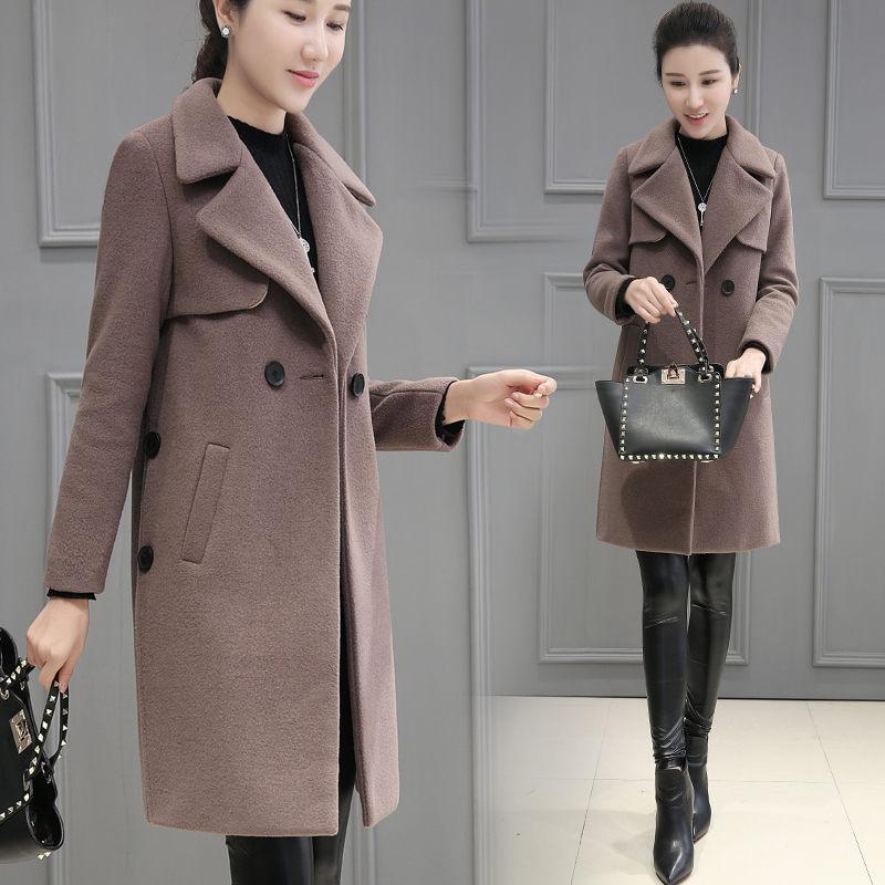Korean Fashion Woolen Coat Women 2019 Autumn and Winter New Women's Slim Long Section Cocoon Jacket Office Ladies Outwear f2034