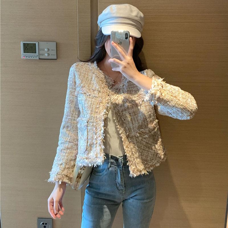 Small Fragrance Vintage Tweed Short Coat Female Korean 2020 New high quality elegant spring Women jacket Coat long-sleeved XZ34