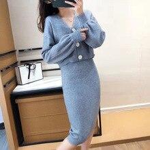 2020 nouveau automne femme tricot Sutis solide point ouvert + crayon Skrit ensemble pour femme décontracté 2 pièces costume ensemble hiver ensemble de base