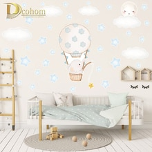 Cartoon Balloon Elephant Wall Stickers Kids Room Decoration Baby Nursery Animal Wall Decals DIY Vinyl Stars Stickers