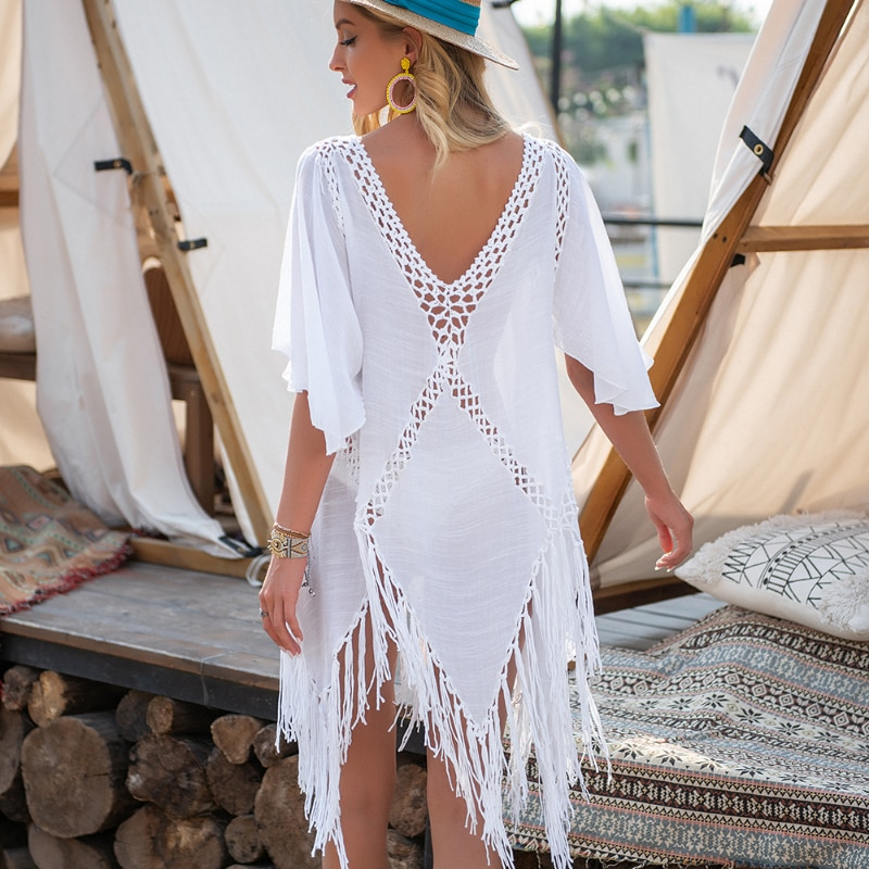 Backless Cover Up With Tassels Sexy V-neck Halter Beach Dress Women 2021 Summer Bathing Suit Beachwear cover up beach woman