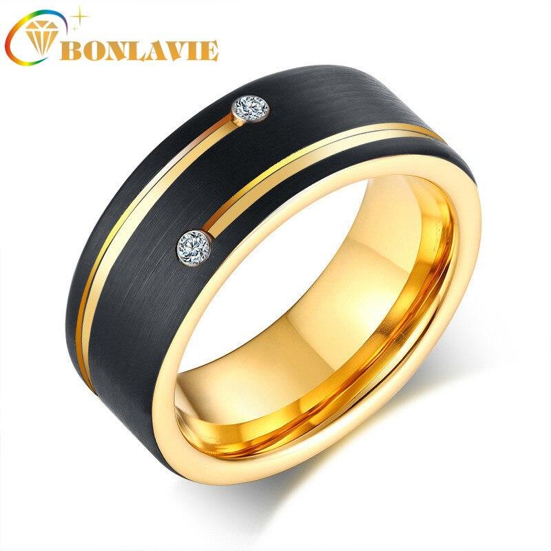Bonlavie sulcou dois anéis de aço de tungstênio zircão ip chapeamento de ouro preto alto polido aaa zircônia cúbica 8mm anéis masculinos