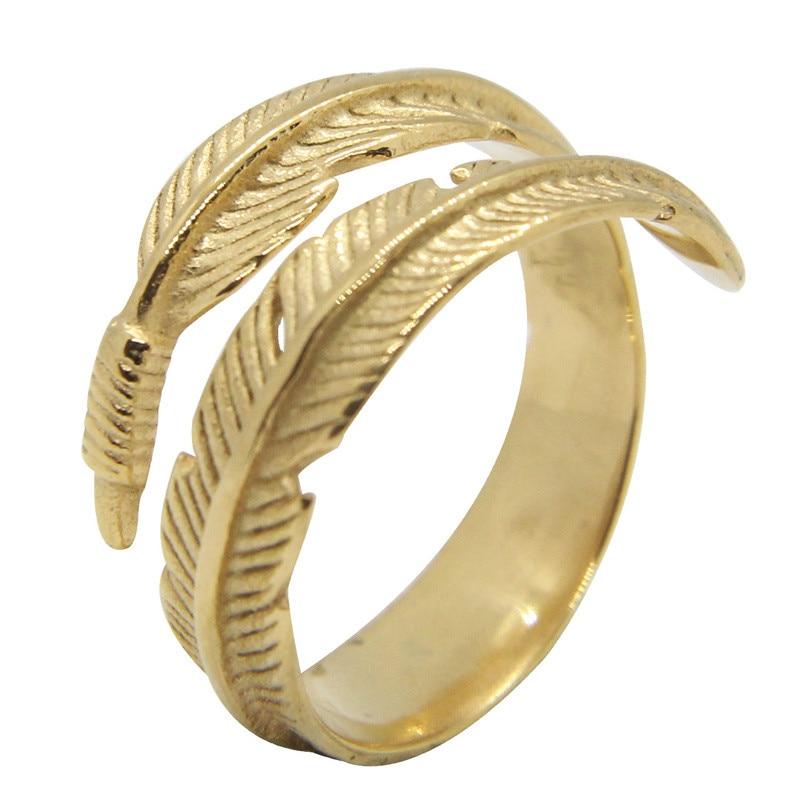Soporte Dropship Unisex Dodo anillo de pluma 316L Acero inoxidable tamaño de la joyería 6-13 anillo Punk