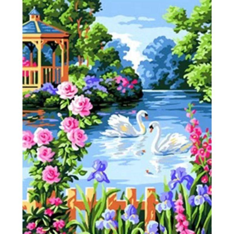 Swan diy pintura a óleo por números kits com escovas kits de pintura acrílicos