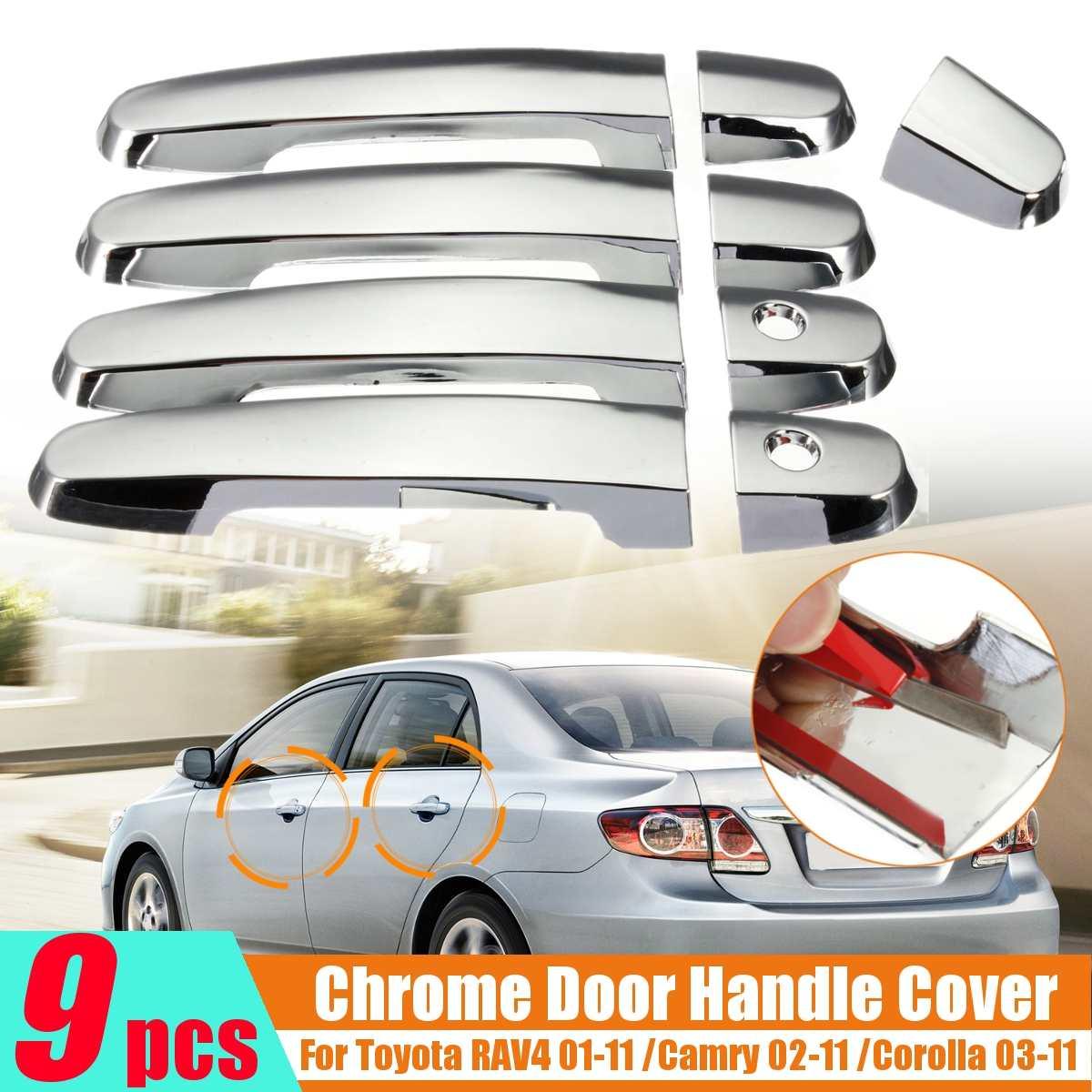 9PCS/set Car Door Handle Covers Exterior Parts Chrome For Toyota Camry Corolla RAV4 2001-2004 2005 2006 2007 2008 2009 2010 2011