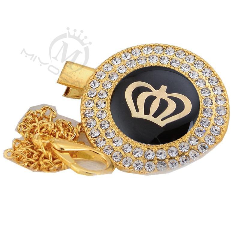Miyocar chupeta com prendedor dourado, símbolo pretos exclusivo de chupeta, ouro LS-GB