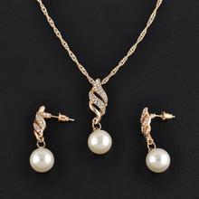 Femmes mariage strass fausse perle spirale pendentif collier boucles doreilles ensemble de bijoux nouveau Chic