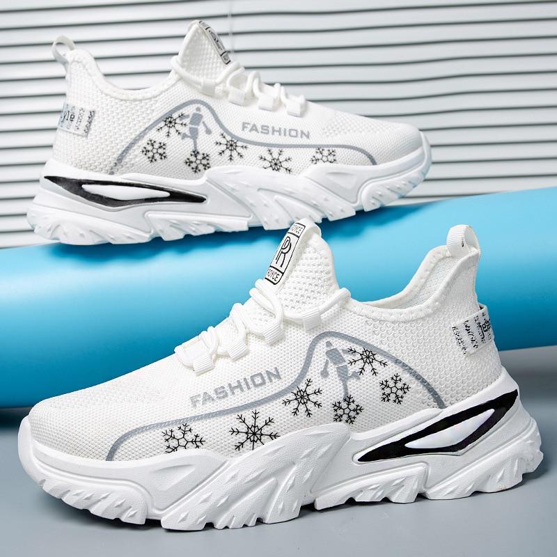 أحذية رجالي الصيف نمط جديد سميكة القاع موضة الطباعة احذية الجري تنفس شخصية الترفيه الرياضة القديمة Ssneaker
