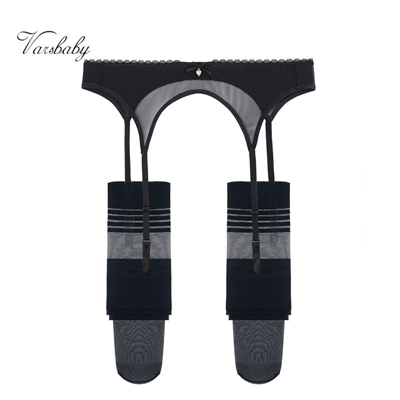 Varsbaby sexy transaprent underwear yarn bow garters+stockings 2 pcs S-XXL for women