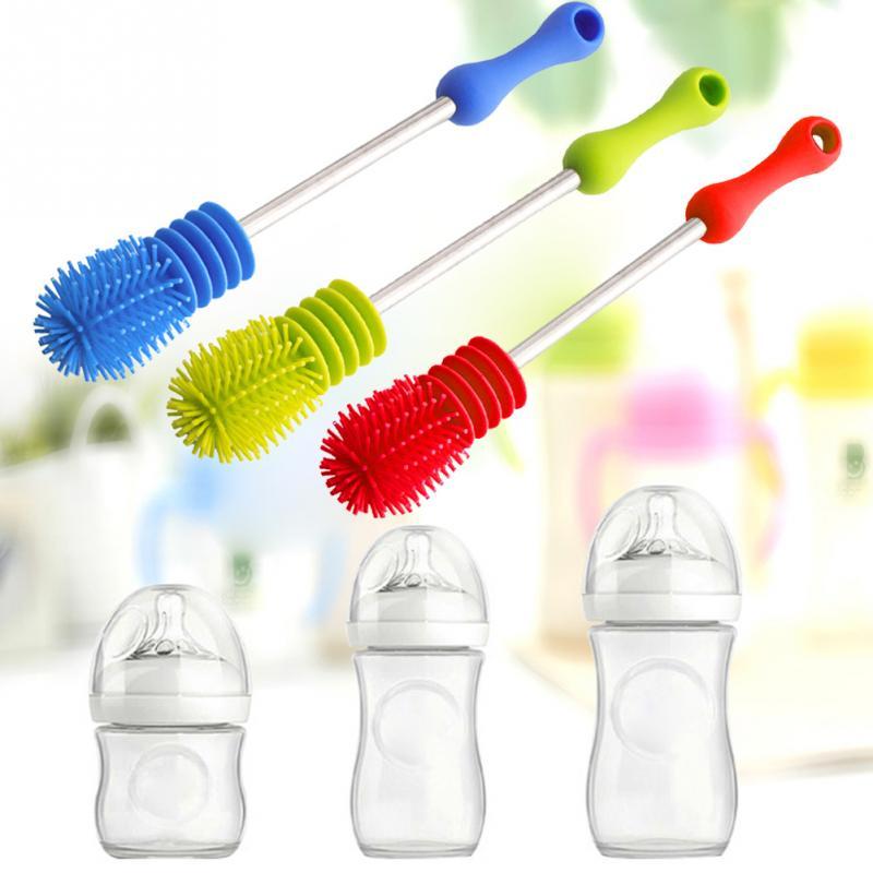 Новинка 2019, щетка для мытья детских бутылочек, Вращающаяся ручка, длинная ручка, щетка для очистки бутылочек для кормления