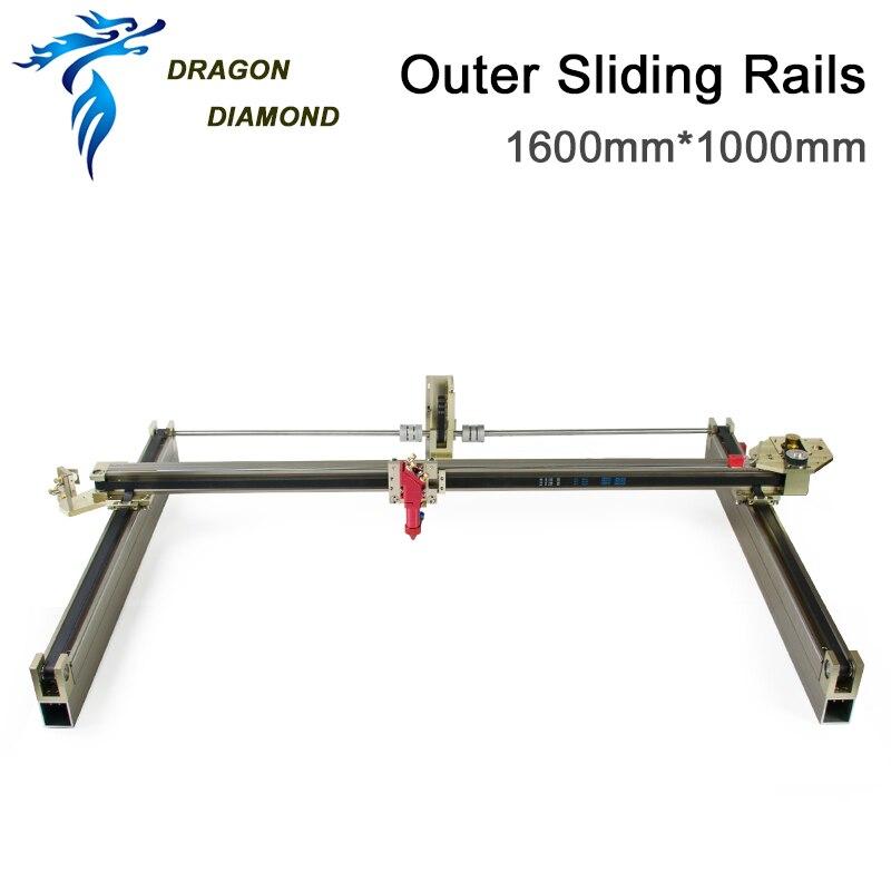 Módulos láser Dragon Diamond, Kits de carriles deslizantes exteriores, juego mecánico láser 1600*1000mm para máquina de grabado láser CO2 1610