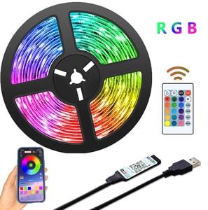 Светодиодная ленсветильник с Bluetooth, питание от USB, светодиодсветильник ленты с дистанционным управлением, RGB 2835, изменение цвета, светодиодная подсветильник ка для телевизора, для домашнего декора
