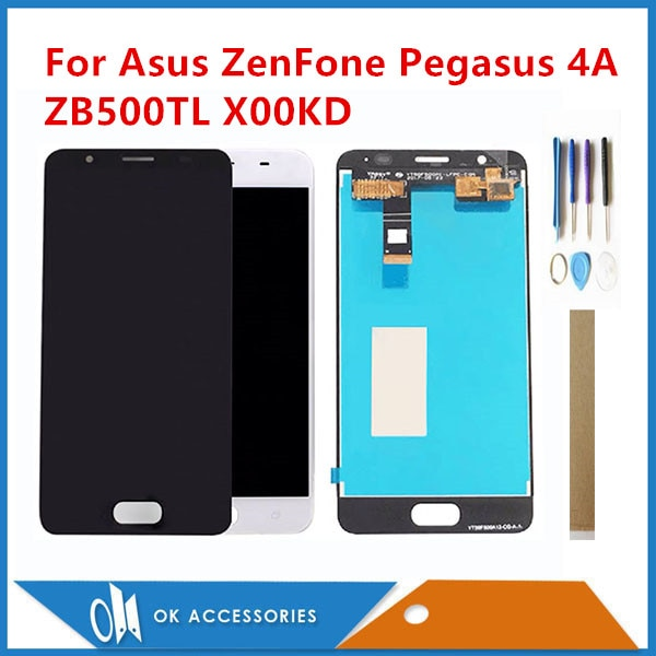 "5,0 ""para asus ZenFone Peg asus 4A ZB500TL X00KD pantalla LCD con sensor de cristal de pantalla táctil montaje digitalizador con cinta de herramientas"