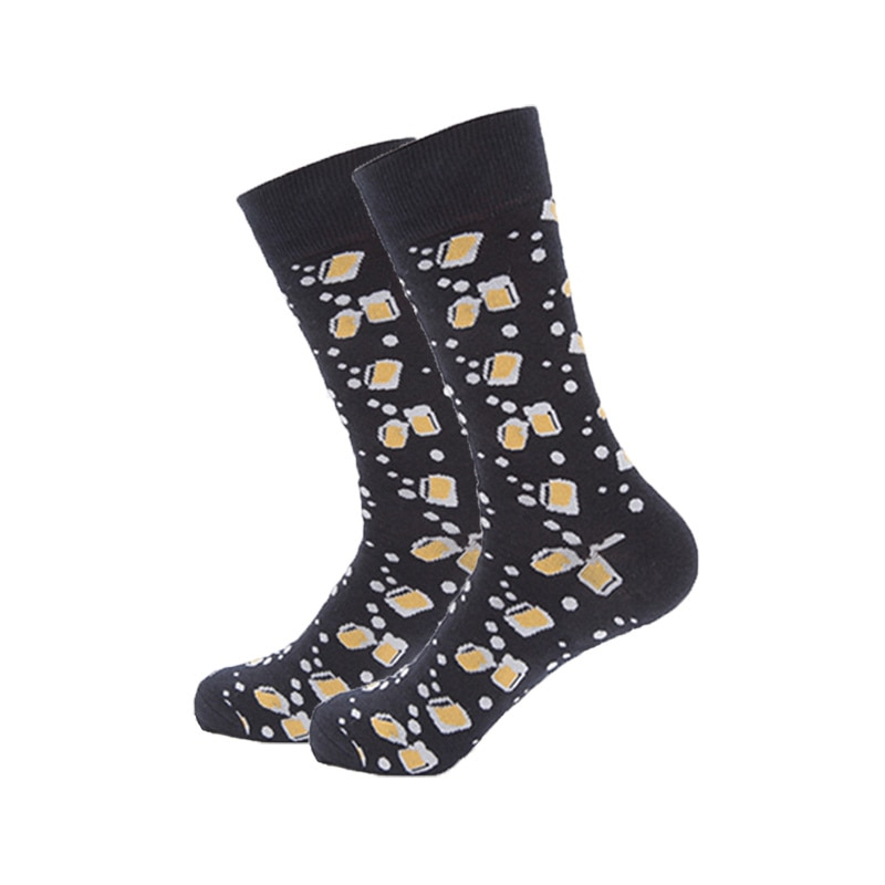 Hot sale happy socks men pure cotton funny socks fashion mens colourful long skateboard sock black bottom beer glass sock