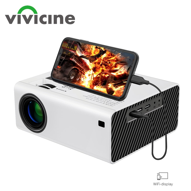 Vivicine  2021 New V6 LED Mini Projector , 5000 Lux , Support Full HD 1080P Sync Phone 3D Home Theat