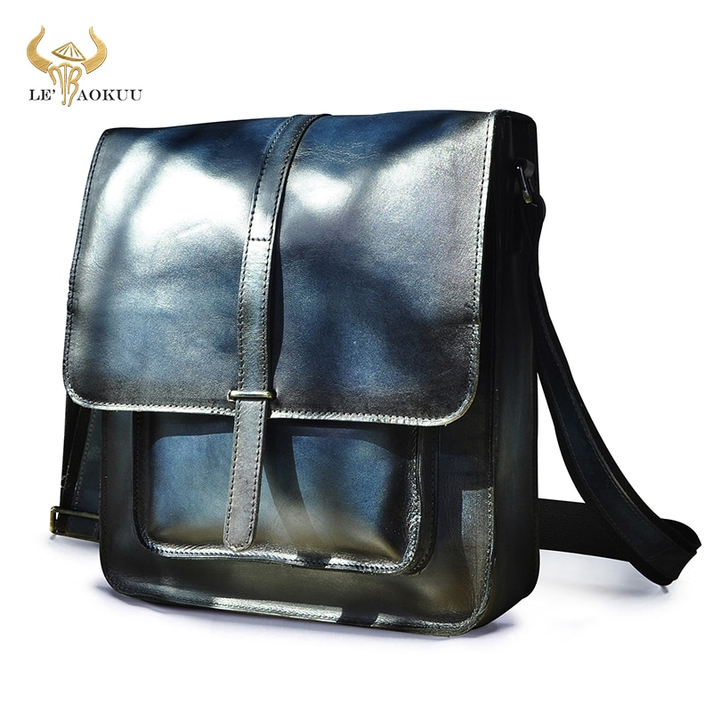 New Fashion Blue Original Leather Male Casual Messenger bag Satchel cowhide 12\
