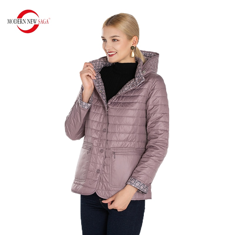 MODERN NEW SAGA Autumn Jacket Women Reversible Jacket Thin Cotton Padded Jacket Hooded Spring Women Coat Puffer Jacket Woman