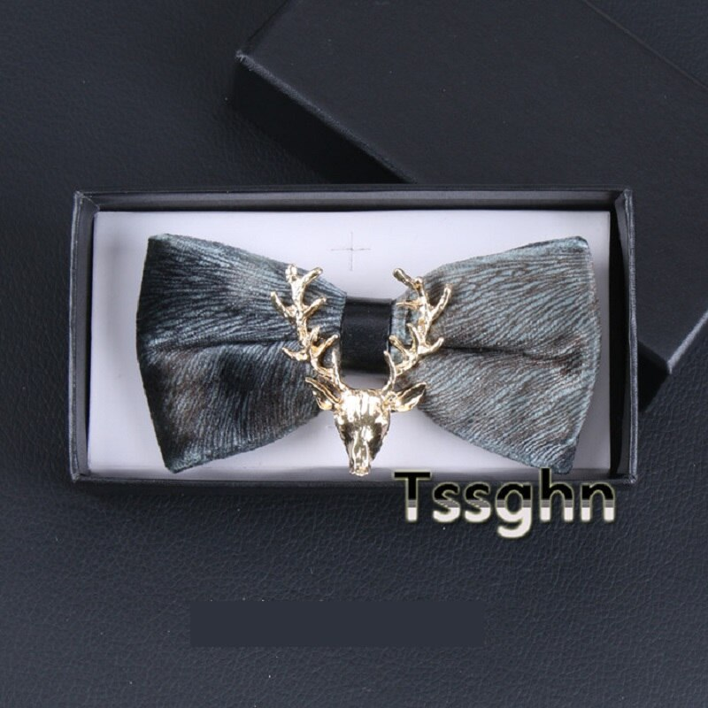 2020 New Fashion Men's Bow Ties Wedding Double Fabric Velvet Deer Head Bow Tie Gorgeous Formal Show Butterfly Tie with Gift Box