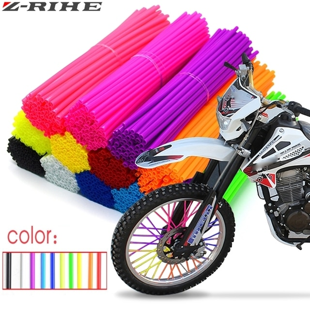 72Pcs Motorcycle Wheel Spoked Protector Wraps Rims Skin Trim Covers Pipe For Motocross Bicycle Bike Cool Accessories 11 Colors