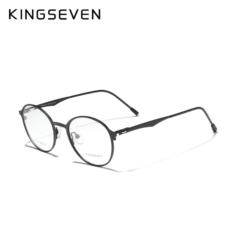 KINGSEVEN Original Titanium Optical Glasses Full Frame Men Ultralight Retro Round Support custom pre