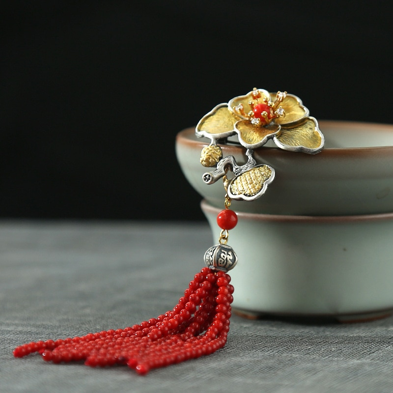 UBESTNICE Handmade Vintage 925 Silver Sterling Pendents For Women Elegant Natural Dyeing Red Coral Tassels Brooches Fine Jewelry