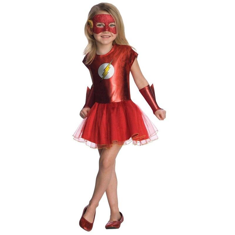 Menina Traje Do Miúdo Do Filme The Flash Liga Da Justiça DC Comic Superhero Fancy Dress Criança Halloween Carnaval Fantasia Outfit