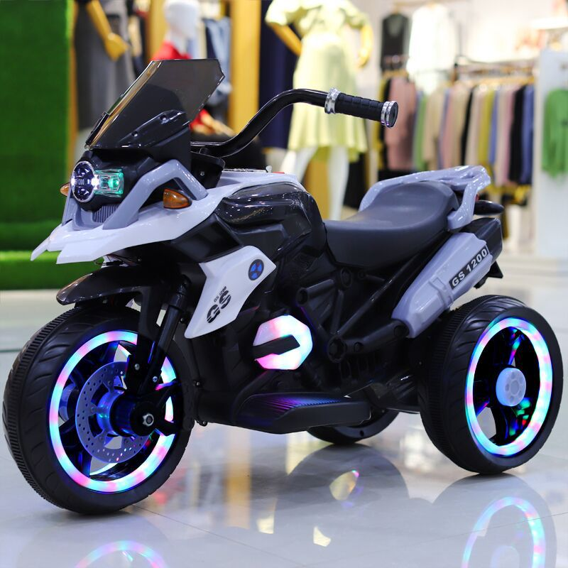 Children's Electric Motorcycle Tricycle for Flash Wheel Remote Control Kids Toys Baby Double Drive Motorbike for Kids Ride on