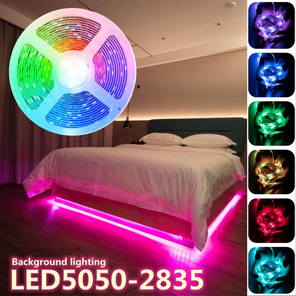 LED Strip Lights Lamp RGB DIY Neon 5050 SMD 2835 Flexible Tape Diode luces led 5M DC12V Room Decor Holiday decoration Bedroom