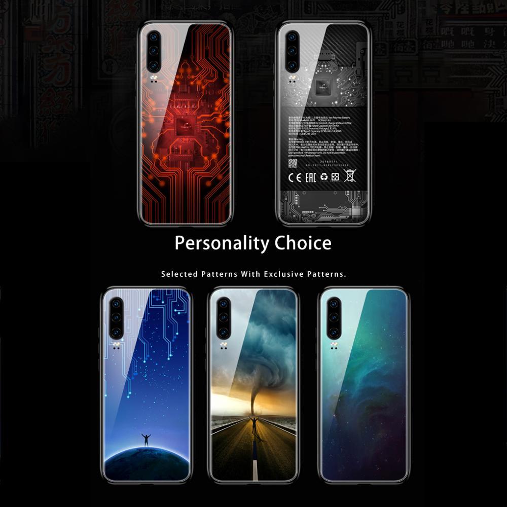 GKK funda de vidrio templado para Huawei P30 Pro Lite funda Anti-agua y patrón de golpes funda de borde suave para huawei P30 Pro lite Funda