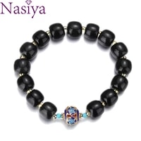 nasiya black hotan jade bracelet beads jewelry for women men vintage bangles accessories fine jewelry gifts charm bracelet