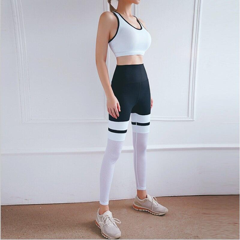Outono e inverno novos esportes de fitness yoga roupas terno feminino contraste cor malha costura leggings sutiã esportivo de duas peças