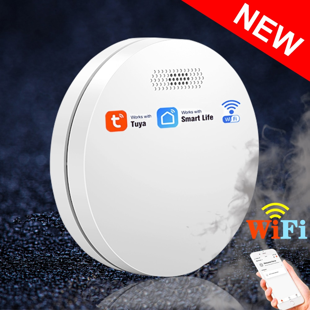 NEW Ultra-thin Tuya WiFi Smoke Detector Fire Alarm Protection Equipment With CE Approval Smartlife Smokehouse Smoke Alarm Sensor