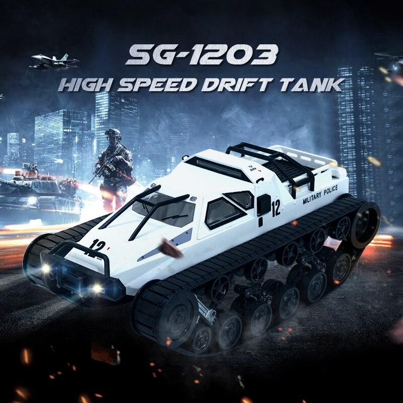 SG 1203 RC coche tanque con Gull-wing puerta Drift 2,4G 112 alta velocidad Control proporcional vehículos modelos 5M Wading Depth Toy