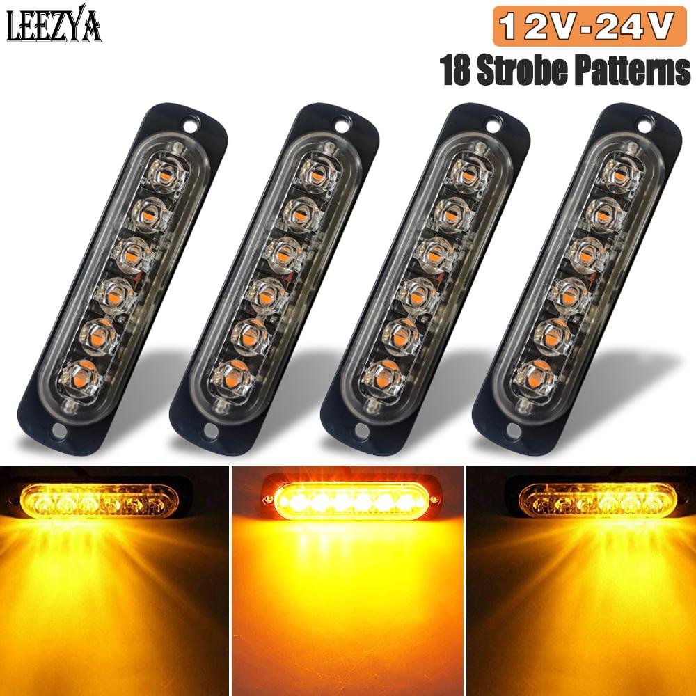 Strobe Warning Light Amber LED Side Flashing Beacon Emergency Hazard Marker Grille Lamp Bar Tow Truck Trailer Pickup 12-24V Car