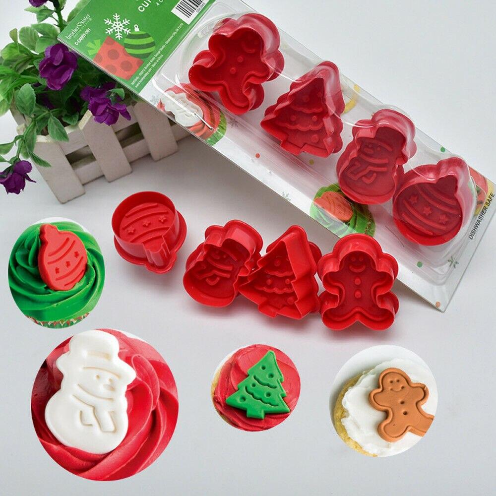 Nuevo 4 unids/set DIY Galleta de Navidad desatascador cortador molde Fondant pastel molde para hornear