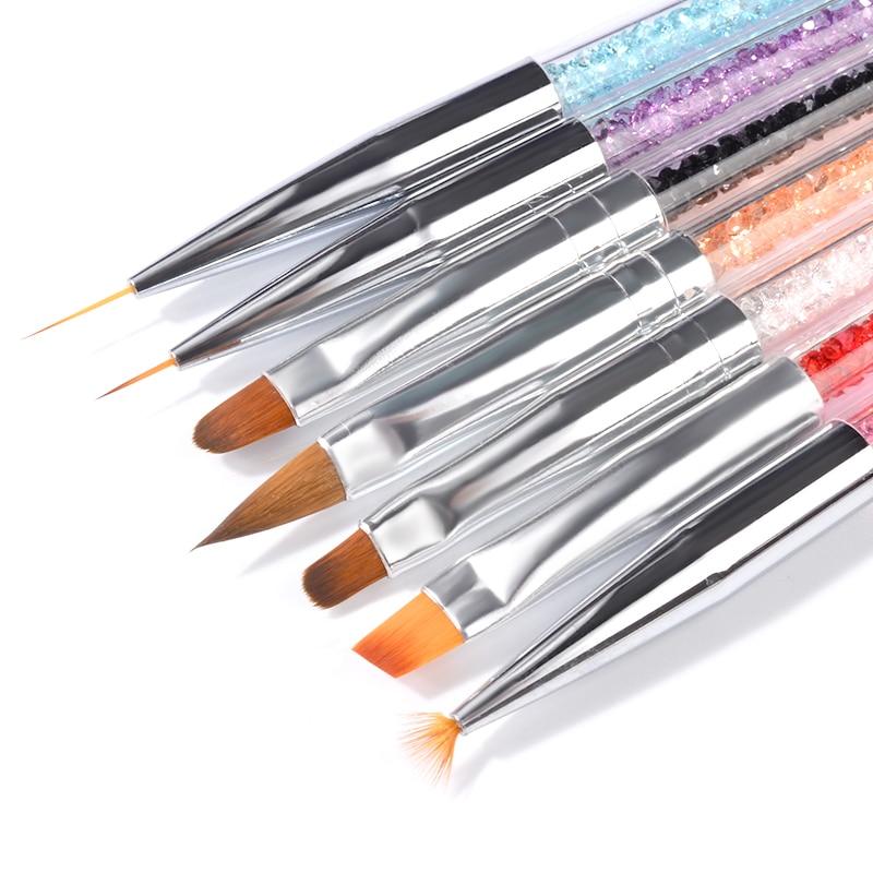 1 Set Nail art Pinsel Strass UV Gel Polnisch Nägel Tipps Punktierung Futter Malerei Stift 3d Maniküre Professionelle Gradienten Pinsel