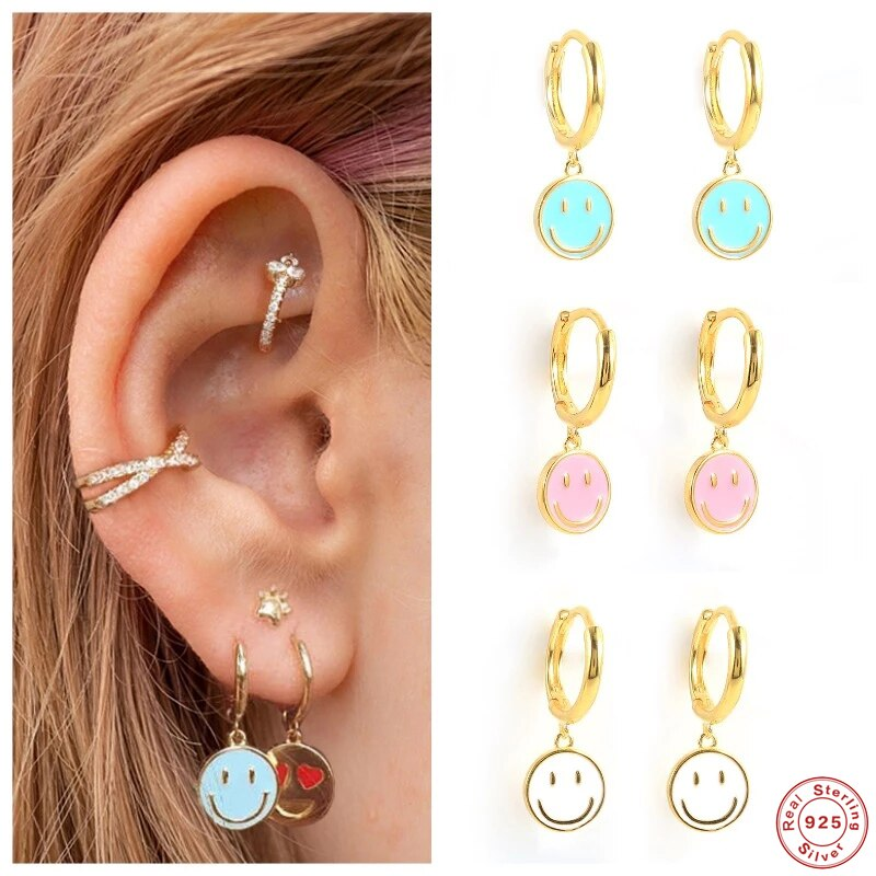 Aide 925 Sterling Silver Funny Smile Face Pendant Hoop Earrings For Women Colored Enamel Smiley Charm Circle Earrings Jewelry superwear 925 sterling silver hoop earrings with charm yellow gold color women men round coin pendant earring vintage jewelry