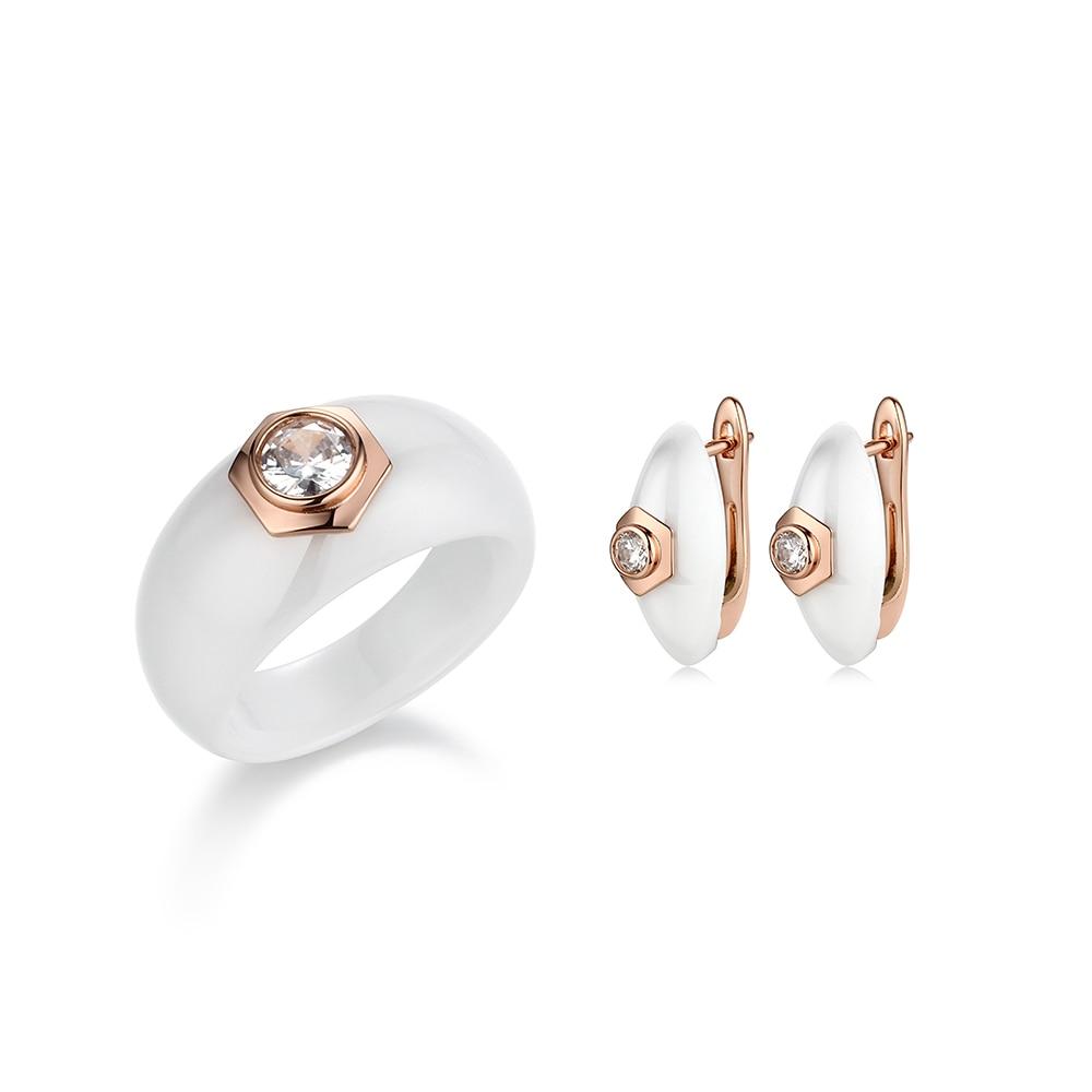 Elegant Formal Dress Jewelry Sets Circle Shape CZ Never Fade Black White Ceramic Rings Stud Earrings Jewlery Sets Christmas Gift