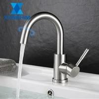 XUNSHINI robinet devier de salle de bain barre en acier inoxydable lavabo robinet mitigeur petit robinet de cuisine Nickel brosse