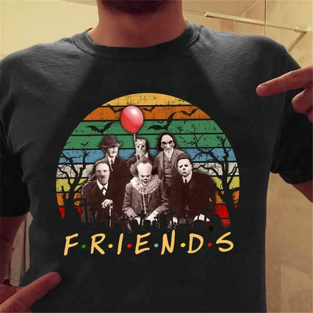 Horror Killer Squad It Myers Jason Friends parodia Halloween negro Camiseta de manga corta Camiseta