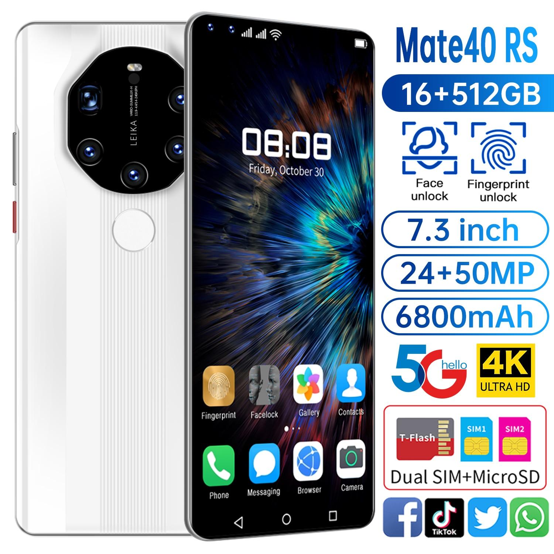 النسخة العالمية HUAWE Mate40 RS الهاتف الذكي 7.3 بوصة كامل الشاشة عشاري النواة 6800mAh 16GB 512GB 4G LTE 5G شبكة الهاتف المحمول