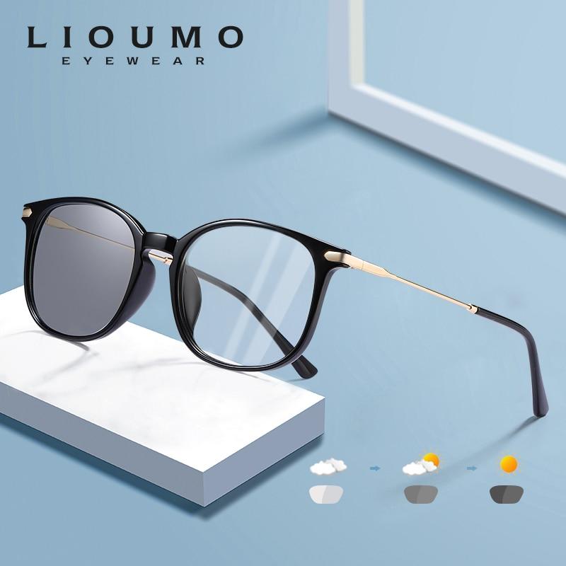 LIOUMO Classic Square Photochromic Glasses Women Men Blue Blocking Light Lenses For Computer Unisex