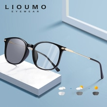 LIOUMO Classic Square Photochromic Glasses Women Men Blue Blocking Light Lenses For Computer Unisex