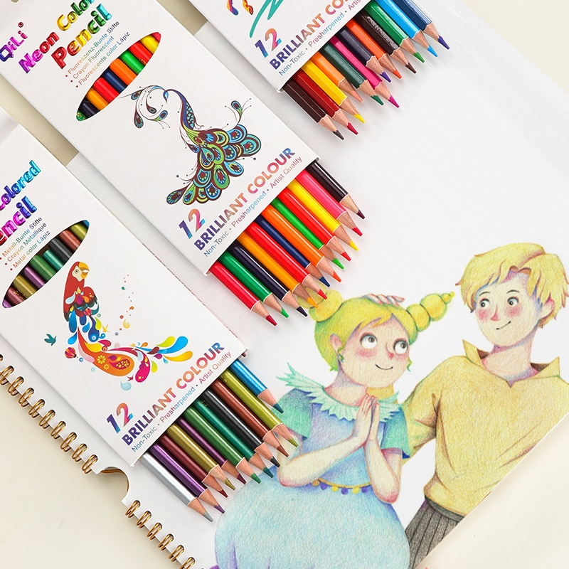 deli wooden colored pencils set soluble pencil for kids drawing pencils sketch artists painting supplies 12 18 24 36 colors box 12 pcs/set Professional Sketch Drawing Pencil Set Oil  Metal Water Fluorescent Painting Pencils Stationery Supplies