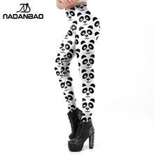 NADANBAO-legging Panda pour femme, legging noir et blanc, pantalon de Fitness imprimé, Slim élastique, taille moyenne, à la mode