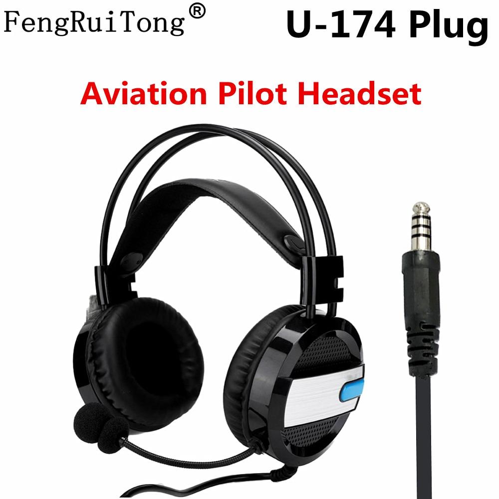 Radio FengRuiTong Pilot Aviation Headset U-174 Plug Helicopter pilot headset Adjustable volume