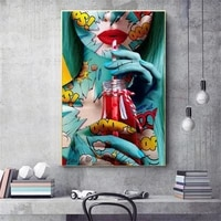 graffiti street art sexy woman canvas paintings on the wall drinking girl posters wall art pictures for living room home decor