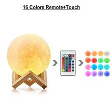 3D Print Rechargeable LED moon lamp remote control / Touch Switch night light LED moonlight Children